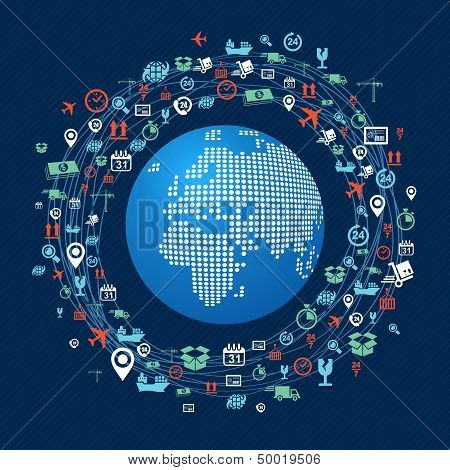 World Map Colorful Shipping Network Icons Composition.