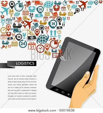 Shipping Icons Composition Human Hand Tablet App Illustration.
