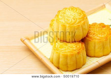 Chinese traditional mooncake close up