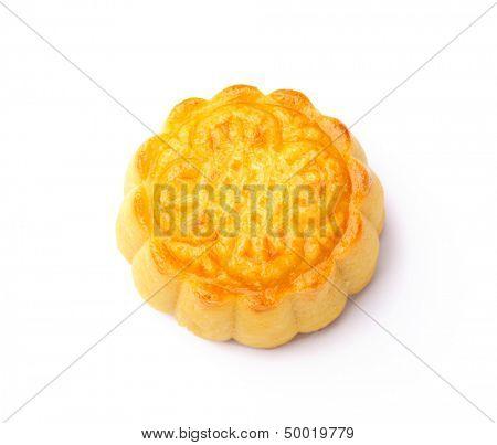 Single mooncake isolated on white