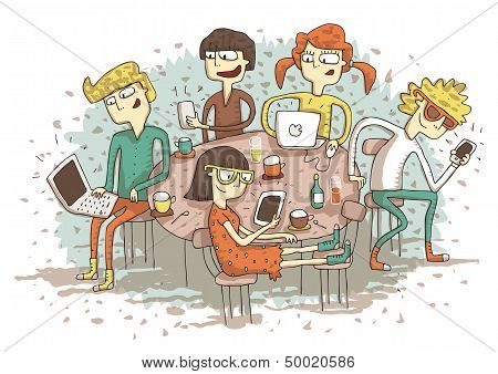 Global Village Cartoon With A Group Of Youngsters Playing With Their Gadgets