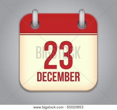Vector calendar app icon. 23 December