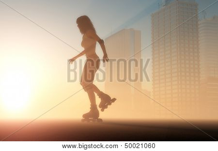 Silhouette of a girl on roller skates