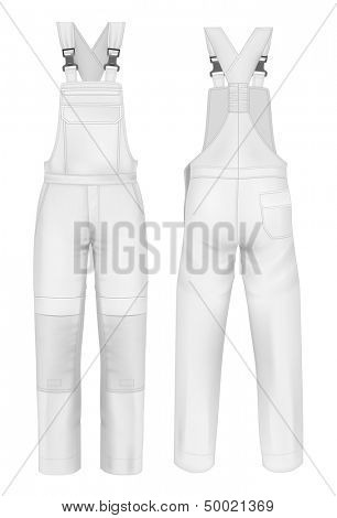Photo-realistic vector illustration. Men's overalls design template (front and back views). Illustration contains gradient mesh.