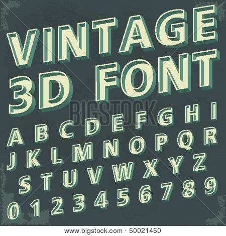 3D Retro type font, vintage typography with grunge background