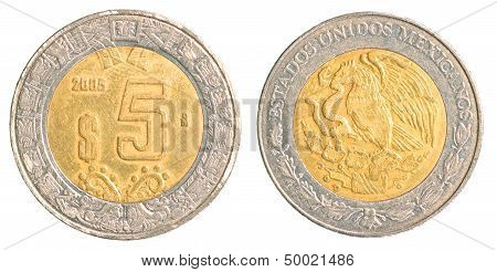 Five Mexican Peso Coin