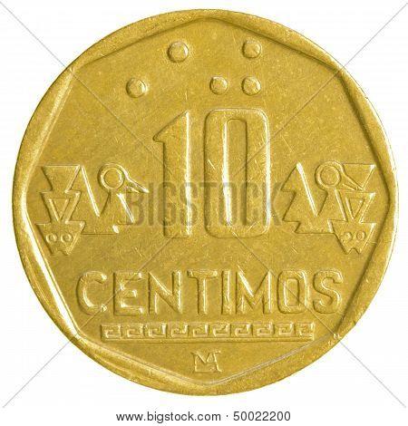 10 Peruvian Nuevo Sol Centimos Coin