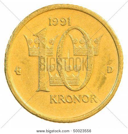 Ten Swedish Kronor Coin