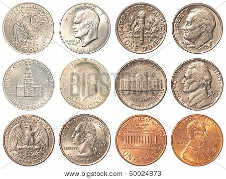Usa Coins Isolated On White Background