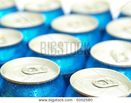 Soda Or Beer Cans Straight From Fridge.  Shallow Dof