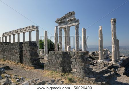 Reconstructed fragment of the Temple of Trajan in ancient Pergamon, Bergama, Turkey