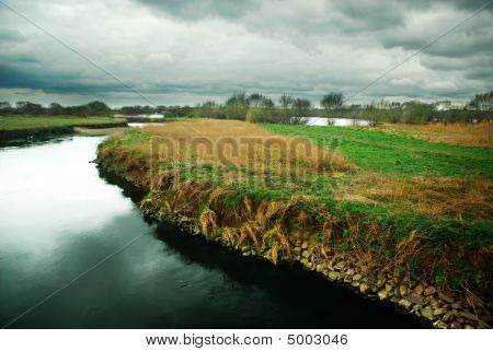 Moody Landscape Of The River Tame