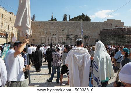Jerusalem - October 16:  Thousands of Jews in traditional religious garb came to pray in the square in front of the Wailing Wall in Sukkot, October 16, 2011 in Jerusalem, Israel