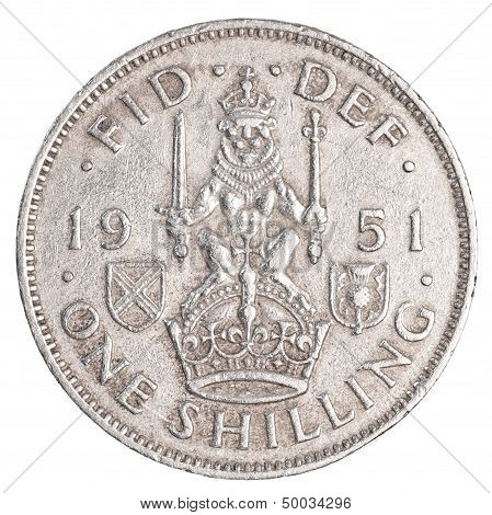 one old british shilling coin