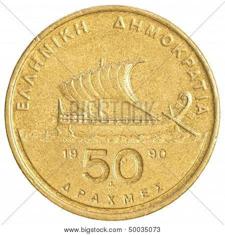 50 Old Greek Drachmas Coin