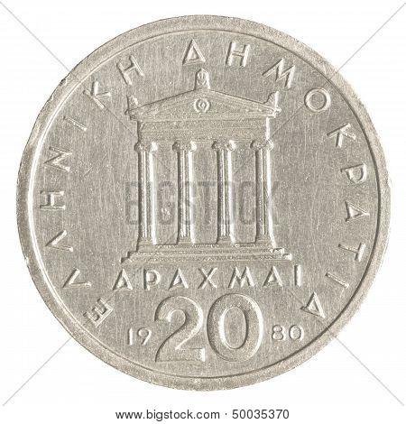 20 Old Greek Drachmas Coin