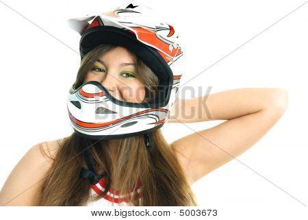 Pretty Girl Wearing A Helmet