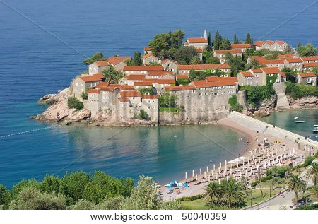 Sveti Stefan is a islet and hotel resort nearby Budva in Montenegro