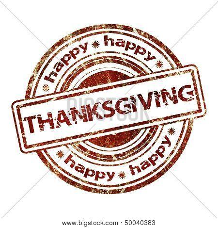 Happy Thanksgiving Grunge Rubber Stamp