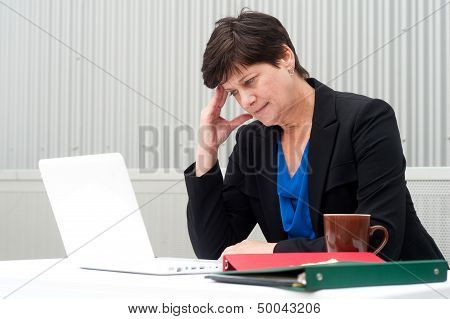 Businesswoman Under Stress, Fatigue, And Headache