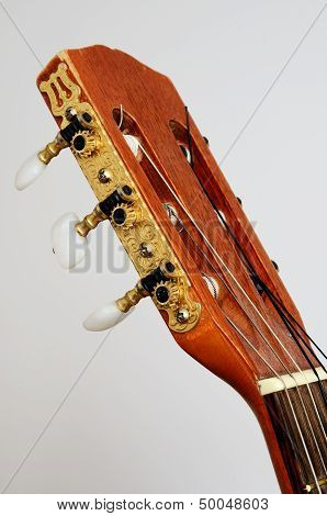 Head Guitar Neck With Tuning Pegs On Gray