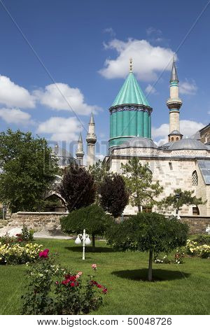 Omb Of Mevlana, The Founder Of Mevlevi Sufi Dervish Order, With Prominent Green Tower In Konya, Turk