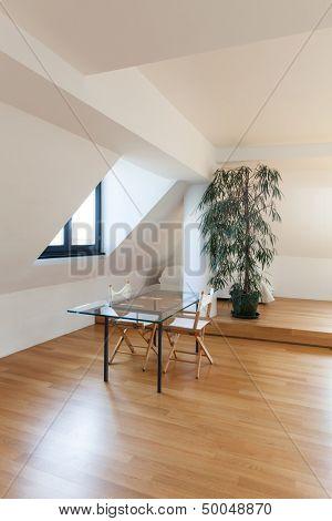 Interior, beautiful loft, hardwood floor, glass dining table