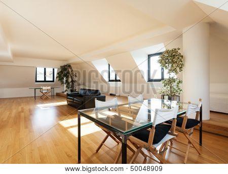 interior, beautiful loft, hardwood floor, view dining table