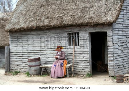 Early New England Settlement Home Image Photo Bigstock