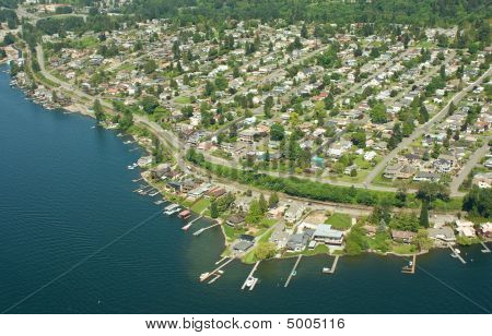 Aerial View Of Seattle Peninsula