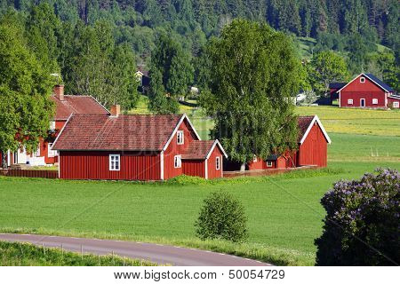 small red farm houses, 17th century culture, smaland, sweden