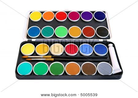 Watercolor Box On White Background