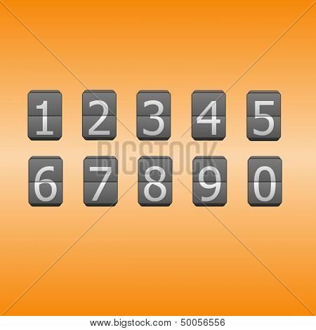 Digital Flip Numbers On Orange Background