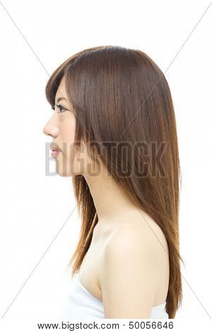 Beautiful hair woman on white background