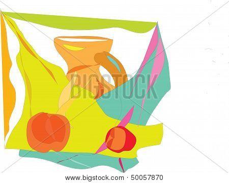 still, pitcher, apple;