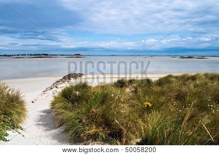 Great beach and dunes during tide in the Bretagne in France