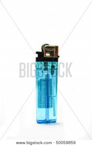 A used butane blue lighter