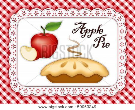 Apple Pie, Lace Doily Place Mat, Red Check Background
