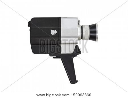 Vintage super 8 film camera with all text and markings removed, isolated with clipping path.
