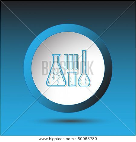 Chemical test tubes. Plastic button. Vector illustration.