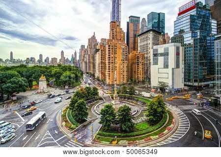 New York cityscape at Columbus Circle in Manhattan.