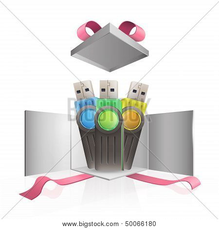 Set Of Pendrives Inside Gift Box. Vector Design.
