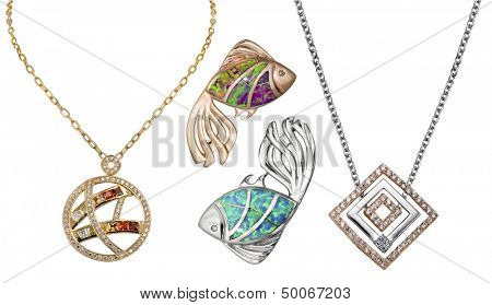 Collection of gold necklace with gemstones  over white background. Jewelry object