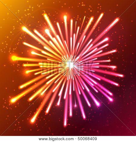 Bright neon vector firework