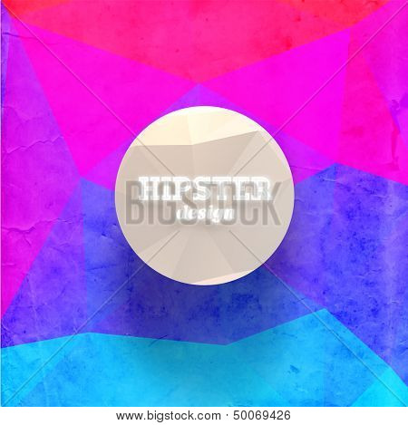 Hipster mosaic background, Hipster theme paper triangles label
