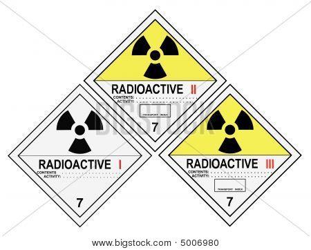 Etiquetas de advertência radioactivos