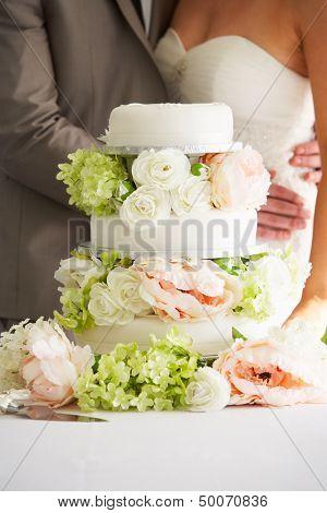 Cerrar hermoso pastel de boda