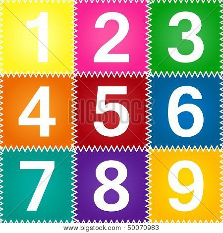 Seamless Patchwork With Numbers 1-9