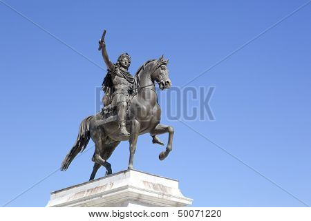 Statue of Louis XIV on horseback in Montpellier, France