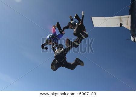 Five Skydivers Exits A Plane
